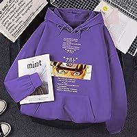 ファッション 男性のためのパーカーナルトマンガプリント暖かい服漫画フリースストリートウェアファッションフリーススワールシャツパーソナリティ特大パーシャル 快適 (色 : 紫, サイズ : M)