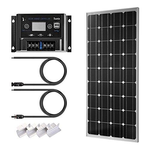 Sunix 100W 12V Panel Solar monocristalino, Controlador de Carga de 10A con Fusible de batería, Ideal para Caravana, jardín häuse, con Conectores MC4 + Soportes de Montaje para Sistema de batería