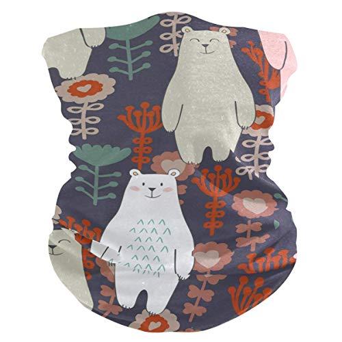Diadema de oso con diseño de flores de animales, cara con protección solar UV, máscara para cuello, bufanda mágica, bandana para la cabeza, pasamontañas para mujeres y hombres