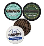 Grinds Coffee Pouches | 3 Can Sampler | Wintergreen, Spearmint, Irish Cream| Tobacco Free, Nicotine Free Healthy Alternative | 1 Pouch eq. 1/4 Cup of Coffee (3 Can Sampler Pack)