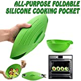 All-Purpose Foldable Silicone Cooking Pocket, Microwave Vegetable Steam Bowl, Cloche Bread Baker, Omelet Maker, Fish Poacher, Oven Roaster, Heat Resistant Reuseable Kitchen Cook Tool