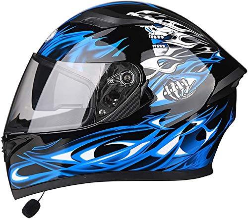 QDY Bluetooth-Motorradhelm, DOT-geprüfter Anti-Fog-Doppelvisier-Vollgesichts-Motorrad-Scooter-Helm Unisex-Adult Leichter Klapphelm für Streetbike, Rennen, Motocross 5, XXL = 63-64 cm