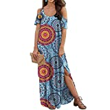 Sherosa Womens Summer Long Dresses Cold Shoulder Flowy Casual Loose Pockets Long Dress (Pattern 2, Medium)
