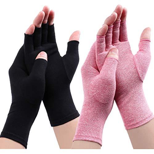 Arthritis Handschuhe - Kompression Arthritis Handschuhe Anti-Arthritis Handschuhe Rheumatische Arthritis Fingerlose Handschuhe für Schmerzlinderung die Blutzirkulation zu erhöhen (Schwarz A+Rosa A, L)