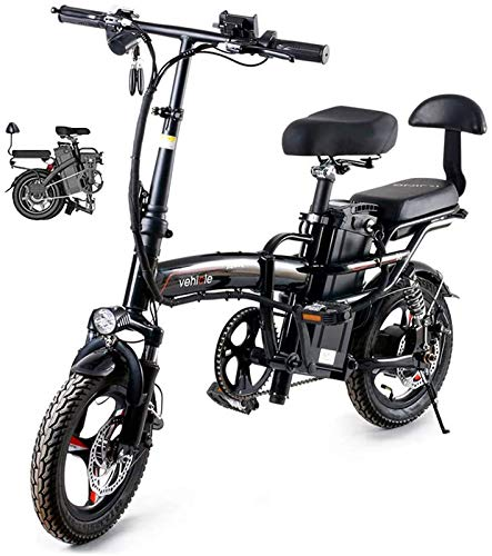 Bicicletta Elettrica, Pieghevole bici elettrica da 14 pollici 48V E-Bike City biciclette for adulti, regolabile telaio leggero pieghevole della lega di E-Bike con schermo LCD, 400W Motore ,Bicicletta