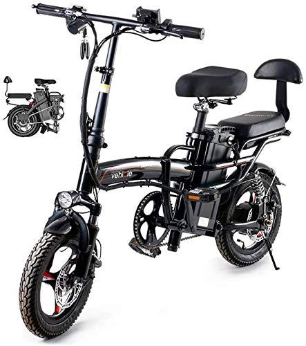 RDJM Bici electrica, Plegable Bicicleta eléctrica de 14 Pulgadas 48V E-Bici Ciudad de Bicicletas for Adultos, Ajustable Marco Ligero de aleación Plegable E-Bici con Pantalla LCD, 400W Motor