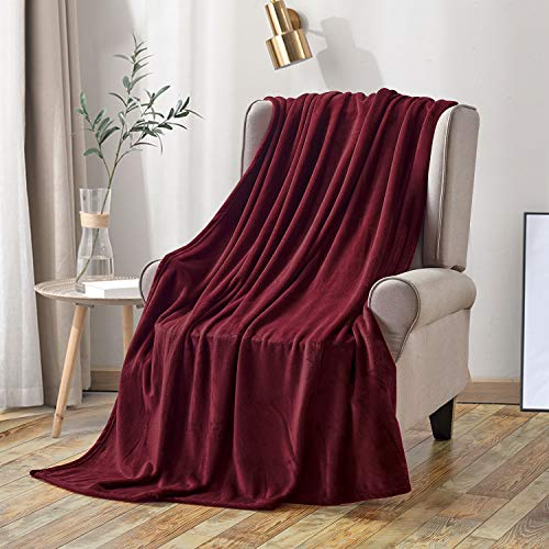 softan Fleece Blanket Lightweight Super Soft Non Shedding Microfiber Ultra Luxurious Plush Blanket (60 X 80 inches, Wine Red)