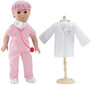 Emily Rose 18 Inch Doll Clothes | Complete 6-Piece Doctor or Nurse Hospital Pink Scrubs Outfit, Including Stethoscope! | P...