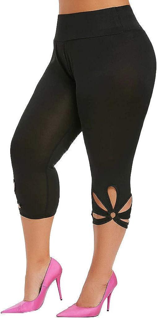 Uppada Women's 3/4 Leggings for Women Hollow Out Pants Plus Size Solid Elastic Waist Casual Sport Sweatpants