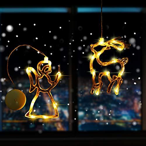 2 Stück LED Weihnachtslichter Innenfenster Dekorationen mit Saugnapf für Feiertag Geburtstag Batteriebetriebene Warmweiße Lampenserie für Weihnachtsbaum Dekorationen, Rentier, Engel Stil