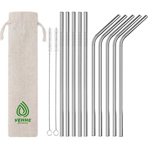 """VEHHE Metal Straw Stainless Steel Straws Drinking Reusable Straws 4 Set -10.5"""" Ultra Long Black Color Cleaning Brush for 20/30 Oz for Yeti RTIC SIC Oz"""