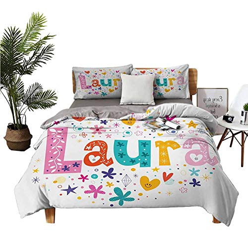 Four-Piece Bedding King Size Sheets Bed Sheets King Set Baby Girl Name with Vintage Doodle Style Flowers and Stars Colorful Illustration Multicolor Apartment Dormitory W104 xL90