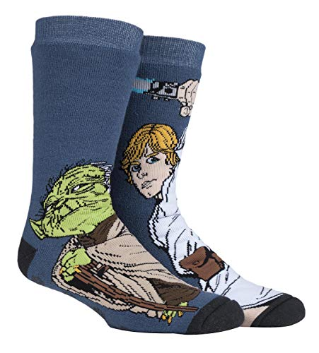 HEAT HOLDERS - Herren Thermo Winter Star Wars Socken mit Antirutsch ABS Sohle (39/45, Luke/Yoda)