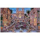 Robert Finale Roma Plaza de España pinturas detalle lugar italia flores arquitectura tela de seda Impresión de póster de lienzo HD-60x120 cm x1 sin marco
