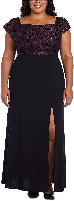 Nightway Women's Plus Size Off-The-Shoulder Gown