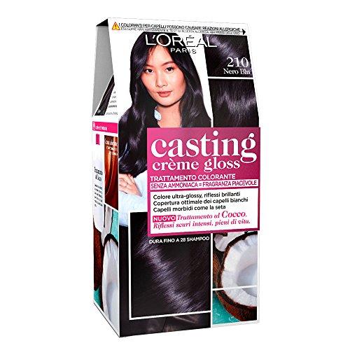 L'Oréal Paris Colorazione Capelli Casting Crème Gloss, Tinta Colore Trattamento senza Ammoniaca per una Fragranza Piacevole, 210 Nero/Blu