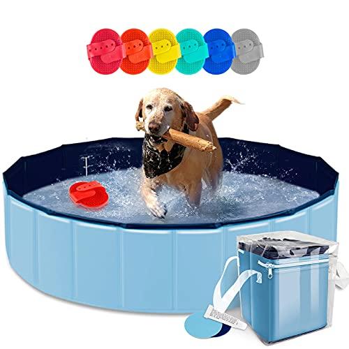 AYITOO Haustier Pool, Hundepool Schwimmbad für Hunde, Hundeplanschbecken Hundebad, Doggy Pool PVC-rutschfest, Faltbarer Haustier Pool Bade für Haustier Schwimmen Pool 120cm x30cm Blau