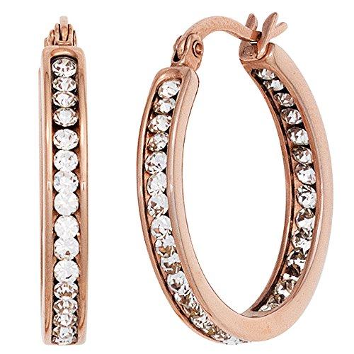 Bijoux paire de boucles doreilles cr/éole en argent 925 plaqu/é rhodium m/écanisme de pliage ovale H 28,6mm L 2,7mm