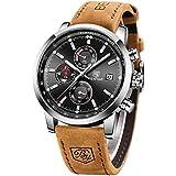 BENYAR Waterproof Quartz Men Watch, Fashionable Chronograph Analog Water-Resistant Business Brown Leather Watches
