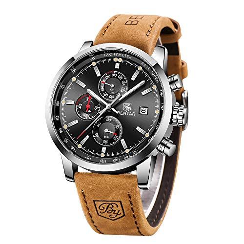 BENYAR Herren Uhr Military Sport Chronograph Lederband Quarzwerk Edelstahl Zifferblatt Armbanduhren