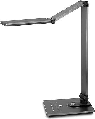 LE Lámpara de Escritorio LED, Lámparas de Mesa 3 Modos Regulable USB Recargable, Puerto USB 5V 2A para Cargar, Función de Memoria Cuidado de ojos
