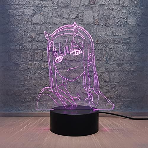 02 - Lámpara de noche lateral con diseño de pink Girl Cartoon Night Light Anime Darling in The FRANXX