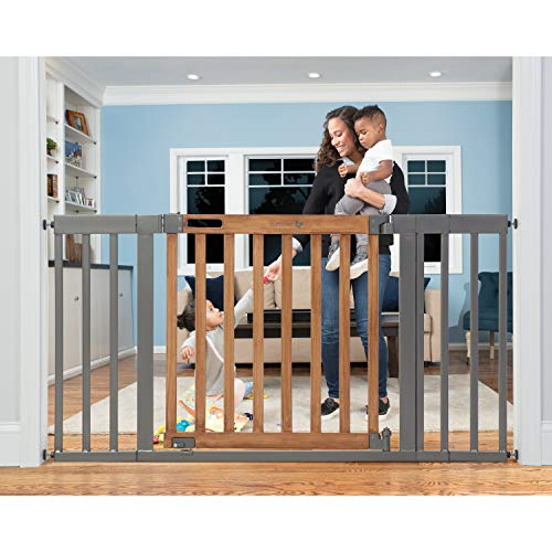 Summer Infant West End Safety Gate, 36' - 60' Wide & 30' Tall, for Doorways & Stairways, with Auto-Close & Hold-Open, Honey Oak & Slate Grey, 36'- 60' Wide