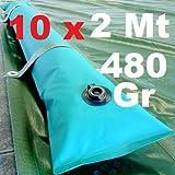 Scp Italy Srl 10 X Tubolari Perimetrali Rinforzati in PVC Verde per Telo di Copertura Invernale per Piscina - Lunghezza MT. 2 da 480 Gr/Mq - RESISTENZA MAGGIORATA - NEW
