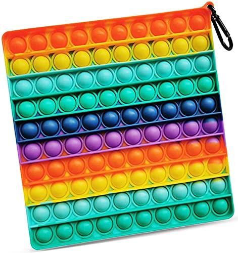 Big Size Fidget Popper Spielzeug Silikon Bubble Pop Fidget Spielzeug Jumbo sensorisches Spielzeug zur Linderung von Stress für Autismus Kinder und Erwachsene 19 cm (quadratischer Regenbogen)
