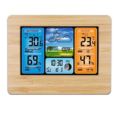 XF-B Pronóstico De Color De La Estación Meteorológica con Alerta Temperatura Humedad Barómetro Alarma Fase Lunar Barómetro Digital (Color : Wood)