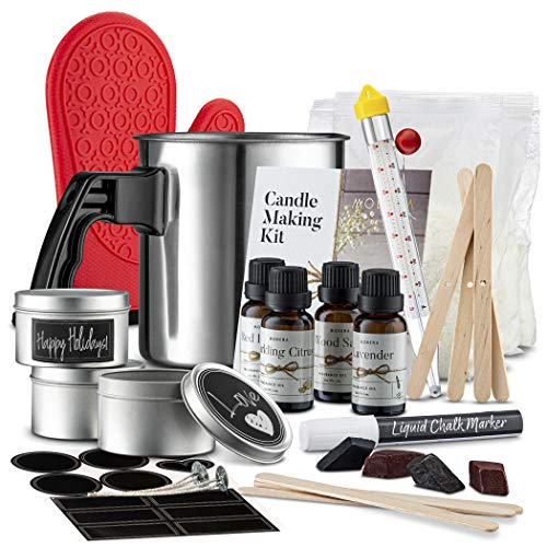 Modera Candle Making Kit | DIY Spa Candle Craft Set w/Supplies to Make [4] Stunning Soy Candles | Includes 8oz Tins, Wicks, Clips, Pouring Pitcher, Thermometer, Oil Fragrances, Color Dye Chips & More