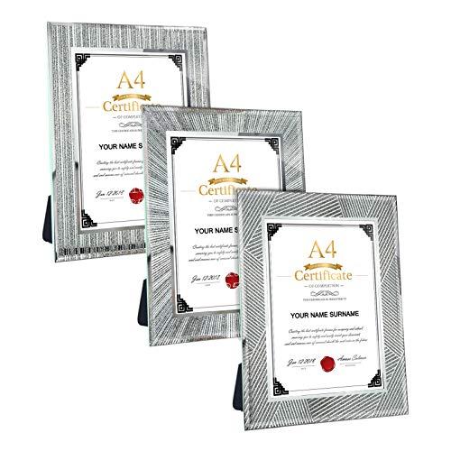 Giftgarden 3er Set A4 Dokumentrahmen Glas Bilderrahmen für Zertifikat 21x29,7 cm