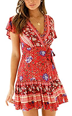 ECOWISH Womens Floral Dresses V Neck Polka Dot Ruffles Mini Sexy Dress Short Sleeve Summer Dresses with Belt 913Wine Red Small