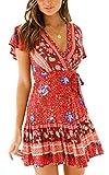 ECOWISH Damen Kleider Boho Vintage Sommerkleid V-Ausschnitt A-Linie Minikleid Swing Strandkleid mit Gürtel 045 Weinrot M