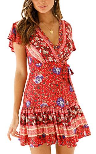 ECOWISH Damen Kleider Boho Vintage Sommerkleid V-Ausschnitt A-Linie Minikleid Swing Strandkleid mit Gürtel 045 Weinrot S