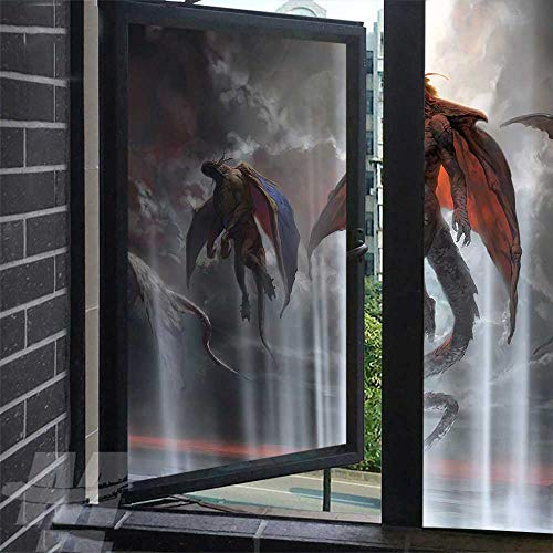 Benmo House Glass Window Decals Night and fire Dragon 06 Glass Covering Non-Adhesives Static Decals Cling for Home 35.4 x 118 inch