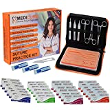 Suture Practice Kit for Complete Surgical Knots Training by Medical & Veterinary Students Including Reusable Realistic Texture Skin Pad, Sterilized Silk, Nylon, Polyester & Polypropylene Sutures,