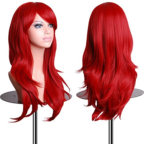 EmaxDesign Wigs 28 inch Wavy Curly Cosplay Wig With Wig Cap and Comb (Red)
