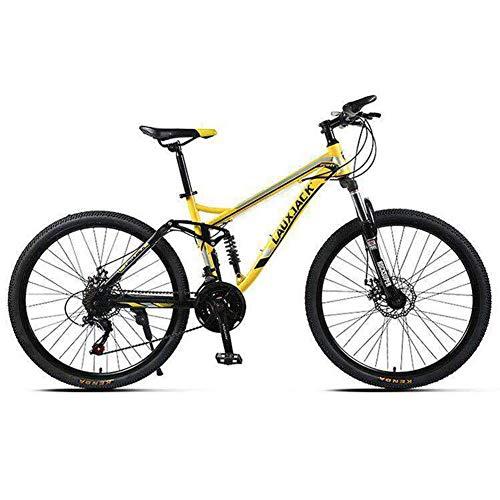 KXDLR Unisex 26' Ruota per Mountain Bike 21-27 Costi 17' Full Suspension Telaio in Lega di Alluminio Leggero,Giallo,27 Speeds