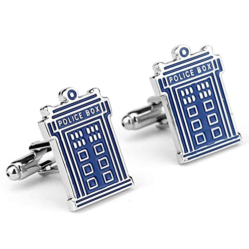 Geek & Glitter Doctor Who Cufflink Set with Gift Box - Tardis, Daleks, Gallifrey, Dr Who Merchandise Jewelry Accessories, Items (Tardis)