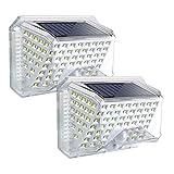 ROVLAK Luz Solar Exterior Ángulo de Iluminación de 270°Lámpara Solar LED con Sensor de Movimiento Exterior Impermeable con Energía Solar para Porche de Jardín Balcón-2 piezas