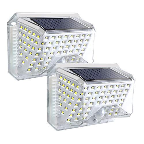 ROVLAK Luce Solare 270°Angolo Illuminazione Lampade LED con Sensore di Movimento Luci Esterno Energia Solare Impermeabile per Giardino Portico Balcone-2 Pezzi