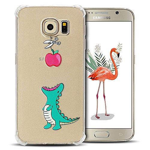 SpiritSun - Cover per Samsung Galaxy S6, in silicone morbido gel TPU Bumper copertura per Samsung S6 copertura posteriore angoli rinforzamento flessibile trasparente protezione Case Coccodrillo