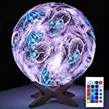 SHINECLOUD Skull Night Light Cool Decor' Lamp Creative LED Skull Light 5.9' Globe Moon Lamp with Remote Control/Smart Touch Sensor/Wooden Stand as Gift for Adult/Man/Girl/boy