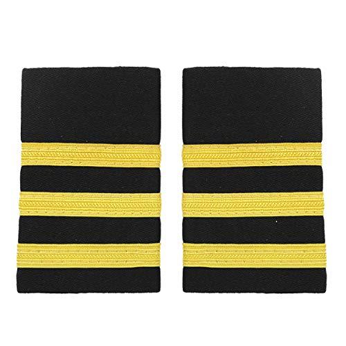 Agoky 1 Paar Pilot Uniform Epaulette Traditionell Professionelle Führer Marine Schulterklappen mit goldenen Nylon Streifen Gold Drei Streifen One Size