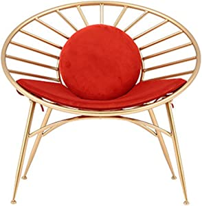 Chair Nordic net red lazy chair Living room designer creative chat chair outdoor balcony wrought iron single chair  Color Orange