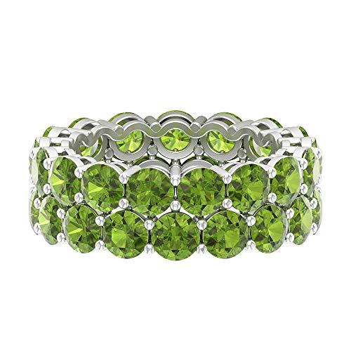 Anillo de doble fila, anillo de boda de la eternidad, anillo de peridoto de forma redonda de 8,8 ct 4 mm, anillo de piedra natal de agosto, anillo de novia apilable, 18K Oro blanco, Size:EU 48