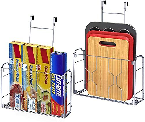Estante de cocina para colgar – Cesta de almacenamiento para puerta o pared – Estante de cocina para la puerta del armario para guardar tablas de cortar, lámina de aluminio – Plateado, 2pcs