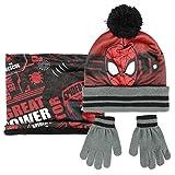 ARTESANIA CERDA Conjunto 3 Piezas Spiderman Set de Bufanda, Rojo (Rojo 02), One Size (Tamaño del Fabricante:One Size) para Niños