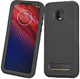 Moto Z3 Case, Moto Z3 Play Case, Heavy Duty with [Built-in Screen Protector] Tough 3 in1 Rugged Shorkproof Armor Cover for Motorola Moto Z3/ Z3 Play (Black)